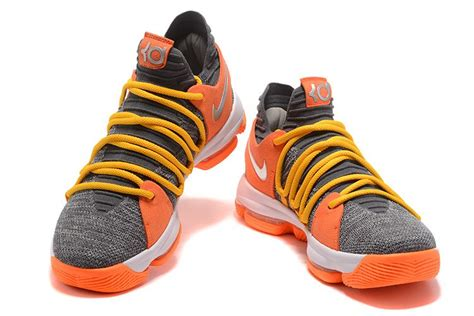 nike womens basketball shoes sale nike kd 10 grey orange yellow basketball shoes for sale