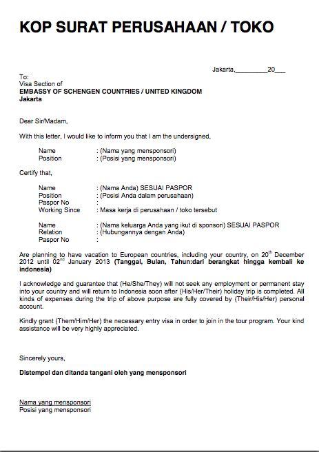 Contoh Surat Sponsor by Theblacklollipop Persyaratan Membuat Visa Schengen