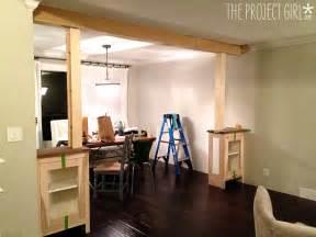 craftsman style room divider columns added to diy living