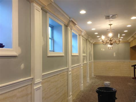 Wainscoting On Ceiling Crown Molding And Pilasters In Party Hall Finish