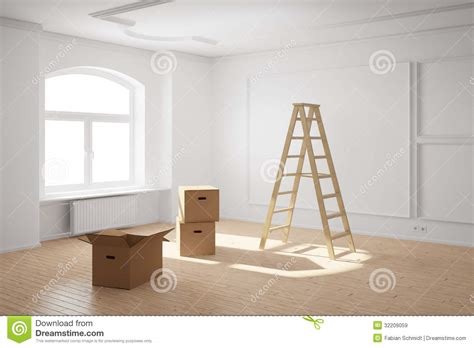 room movers empty room with ladder and boxes royalty free stock images
