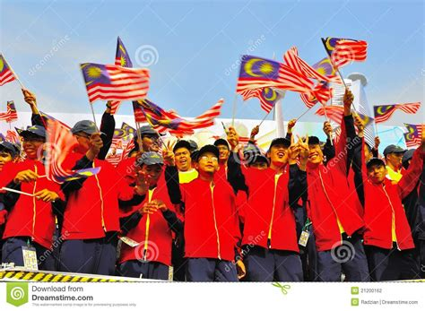 Malaysia National Day Celebration In School Essay by Students Waving Malaysia Flags During National Day Editorial Photography Image 21200162