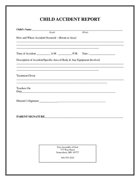Incident Report Exle Childcare Incident Report Form Child Care Child Report Child Forms Children