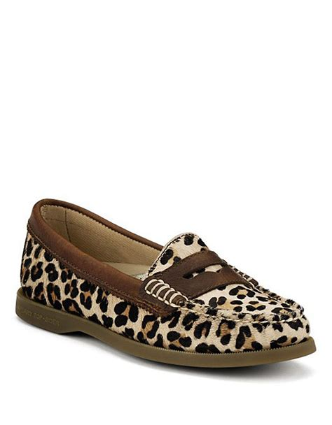 leapord loafers lyst sperry top sider hayden leopard print calf hair loafers