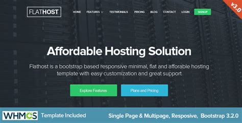 themeforest hosting theme flathost responsive hosting template with whmcs by