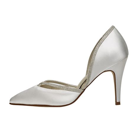 Ivory And Silver Wedding Shoes by Rainbow Club Ivory Silver Satin Chic Court Shoes