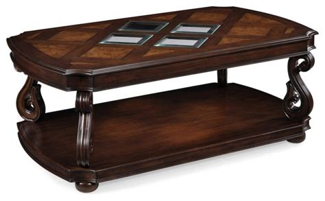 Traditional Coffee Table Magnussen T1648 Harcourt Wood Rectangular Coffee Table With Casters Traditional Coffee