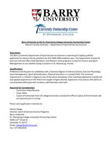 cover letter for adjunct faculty cover letter exle professor