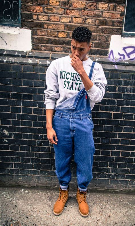 #overalls #timberlands #sweatshirt #90s   Men's   Pinterest