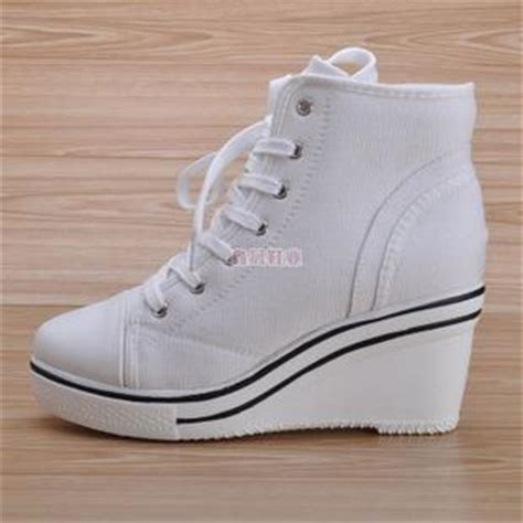 canvas wedge heels sneakers tennis shoes white uk 5