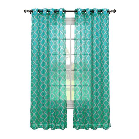 Turquoise Sheer Curtains Window Elements Quatrafoil Printed Sheer Wide 54 In W X 84 In L Grommet Curtain Panel In