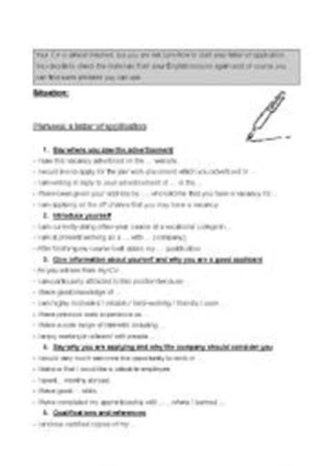 Application Letter Useful Phrases Teaching Worksheets Letter Of Application