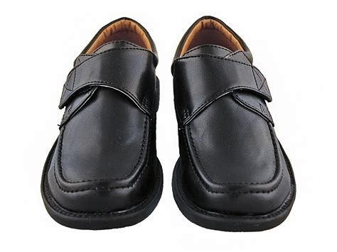 Dress Velcro boys black dress shoes with velcro