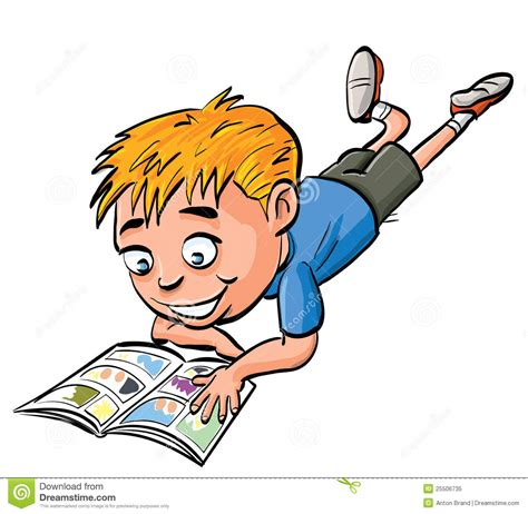 how to read comics boy reading a comic book stock illustration