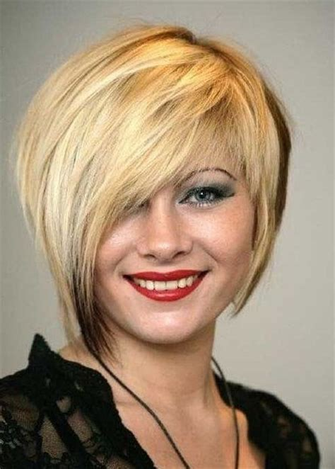 funky asymmetrical haircut style for older women haircut with side swept bangs trendy short asymmetrical