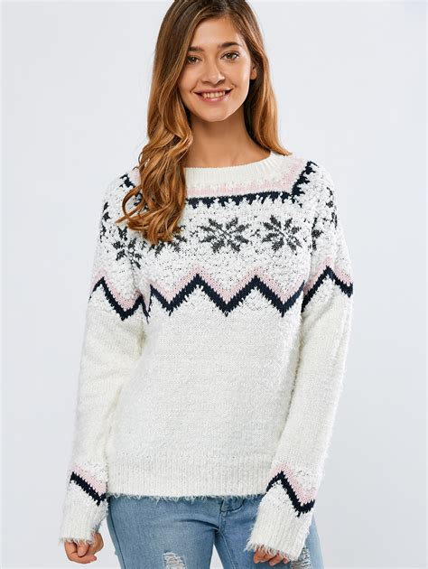 snowflake pattern jumper christmas snowflake pattern sweater in white sammydress com
