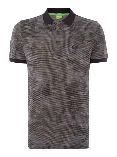 hugo boss pattern t shirt boss paddy 4 regular fit camo print polo shirt in gray for