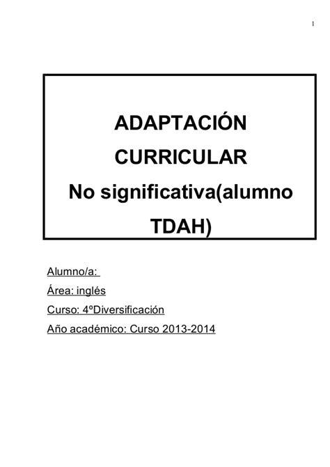 Modelo Adaptacion Curricular Significativa Ingles Adaptacion Curricular Tdah