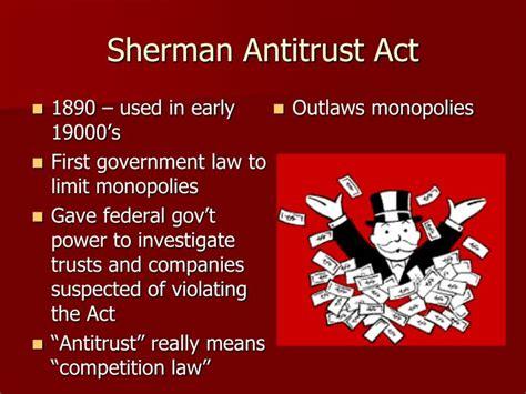 sherman antitrust act section 1 ppt antitrust policy regulation powerpoint