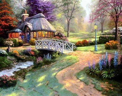 Kinkades Cottage by Kinkade Friendship Cottage Painting Anysize 50