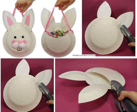 Easter Bunny Paper Crafts - easter bunny craft paper plate basket easter