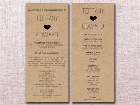 program card wedding template diy wedding programs template invitation template