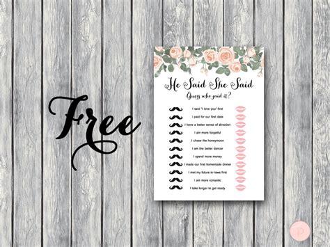printable co ed bridal shower games free elegant floral he said she said game bride bows