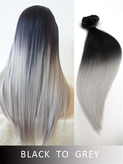 black to grey colored clip color 233 extensions 224 extensions des cheveux