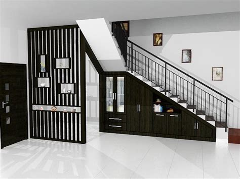 design wallpaper untuk tangga tangga rumah tingkat klasik bahan kayu dan besi desain