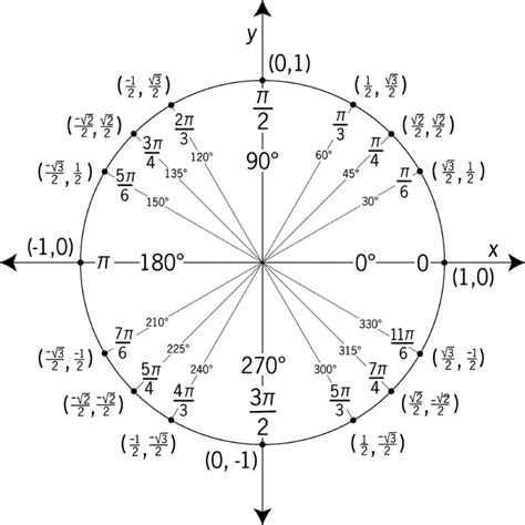 Unit Circle Worksheet by Unit Circle Labeled With Special Angles And Values Clipart Etc