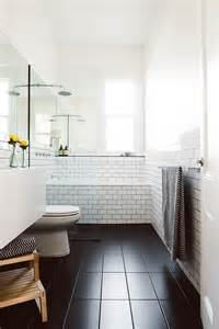 Black tile on the floor of your bathroom look at our black bathroom