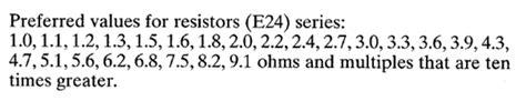 resistor choice e24 series year 10 e1 revision notes