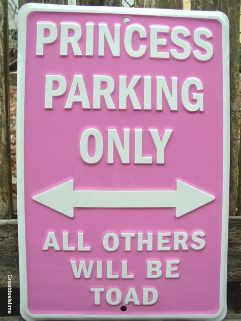 Bedroom Signs by Quot Cave Sign Quot Princess Parking Only Pink Metal Home