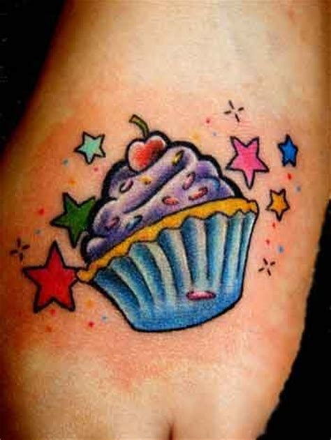 candy and cupcake tattoo designs colorful designs