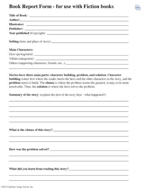 fiction book report form my everything book