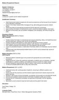 Receptionist Resume Sle Skills by Receptionist Resume Exle 9 Free Word Pdf Documents