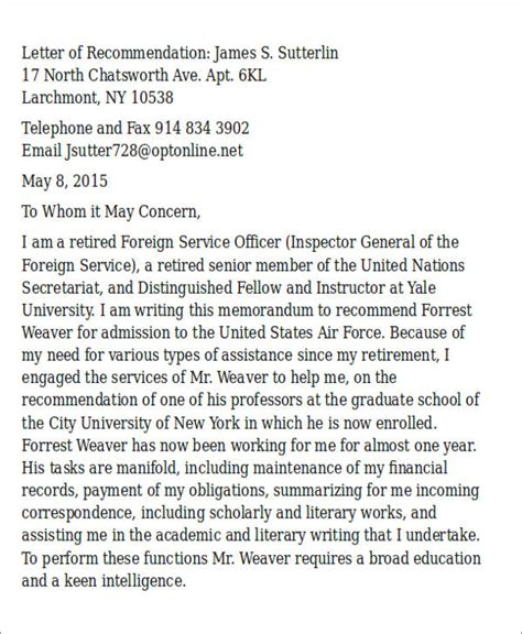 air letter format sle air letter of recommendation 6 exles in