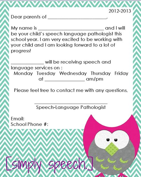 Parent Welcome Letter Template Simply Speech August 2012