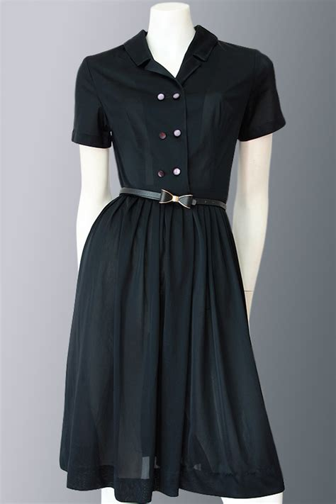 1950s shirt waist dress with tags vintage clothing