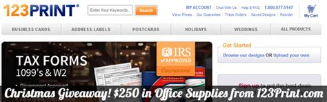 Office Christmas Giveaways - christmas giveaway 250 in office supplies from 123print com website design