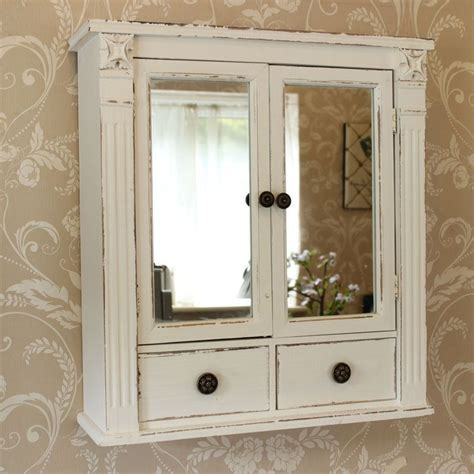 shabby chic medicine cabinet white wooden mirrored bathroom wall cabinet shabby vintage