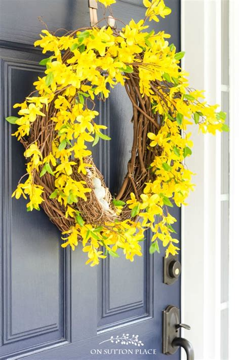 diy spring wreath ideas whimsical spring forsythia wreath just spring forsythia wreath a pop of yellow for your door