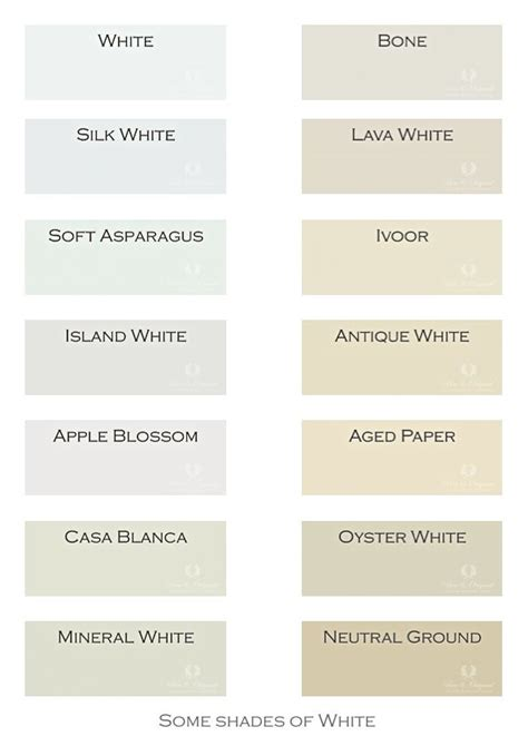 next to the colors of grey and blue now a selection of shades of white colors in lime paint