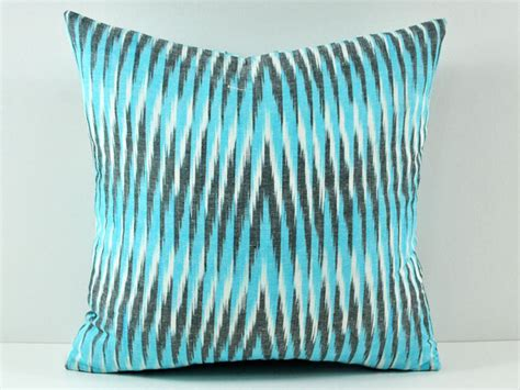 Turquoise Decorative Pillows Turquoise Ikat Pillow 100 Cotton Contemporary