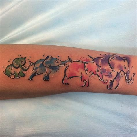 elephant family tattoo watercolor elephant designs ideas and meaning