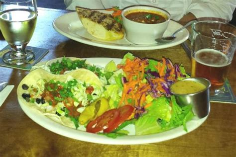 empire ale house red pepper soup and fish tacos at empire ale house picture of empire ale house