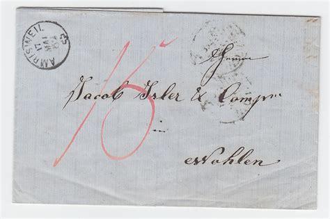 schweiz 1862 fingerhut stpl amrisweil auf porto brief v eich n wohlen 183 heiner zinoni
