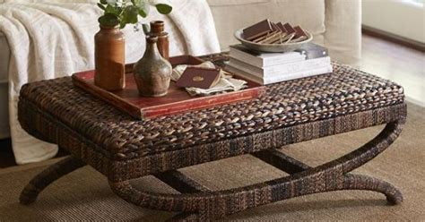 seagrass bench pottery barn seagrass coffee table ottoman pottery barn coastal