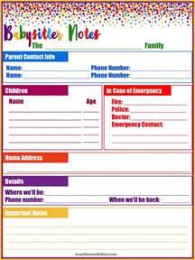Nanny Information Sheet Template by Printable Babysitting Information Sheet Motorcycle