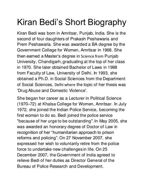 Kiran bedi's Short Biography